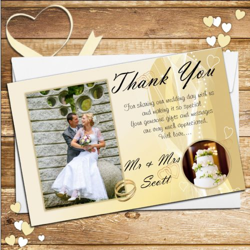 10 Personalised Gold Rings Wedding Thank you PHOTO cards N215